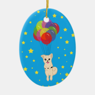 Puppy with Balloons Ceramic Oval Decoration