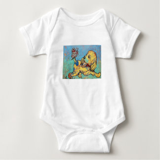 Puppy with butterfly on tail baby bodysuit