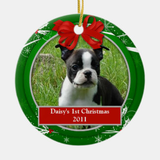 Puppy's 1st Christmas Red Green Holly Berries Ceramic Ornament