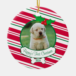 Puppy's First Christmas - Candy Cane Ceramic Ornament