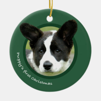 Puppy's First Christmas (Cardigan Welsh Corgi) Round Ceramic Decoration