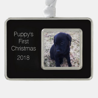 Puppy's First Christmas Custom Personal Template Silver Plated Framed Ornament