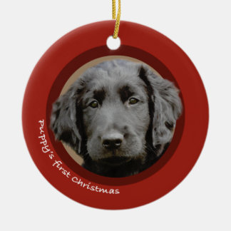 Puppy's First Christmas (Flat-Coated Retriever) Ceramic Ornament