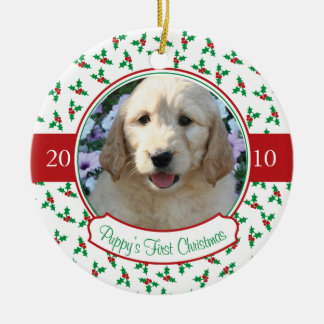 Puppy's First Christmas - Holly & Berries Round Ceramic Decoration