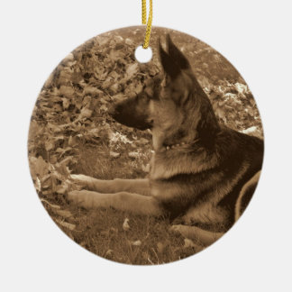 Puppy's First Christmas Round Ceramic Decoration