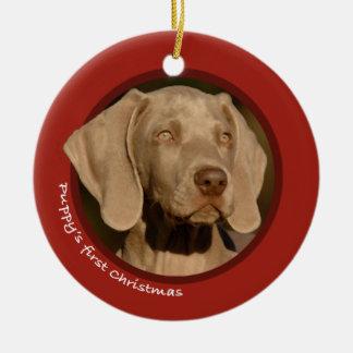Puppy's First Christmas (Weimaraner) Ceramic Ornament