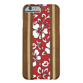 Pupukea Hibiscus Hawaiian Faux Wood Surfboard Barely There iPhone 6 Case