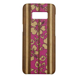 Pupukea Vintage Hawaiian Faux Wood Surfboard Pink Case-Mate Samsung Galaxy S8 Case