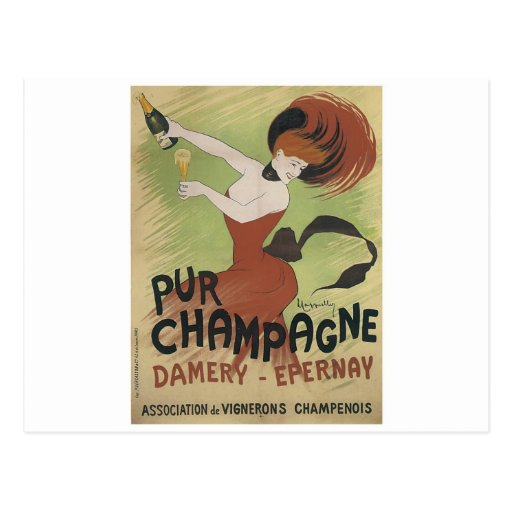 PUR CHAMPAGNE Vintage Art Poster print Post Card