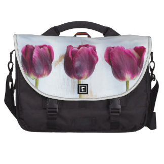 PUR-polarize tulips on white rustic wooden backgro Commuter Bags