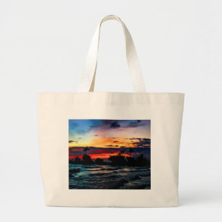 Pura Tanah Lot Temple, Bali, at sunset Large Tote Bag