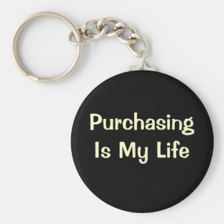 Purchasing Is My Life - DeMotivational Quote Basic Round Button Key Ring