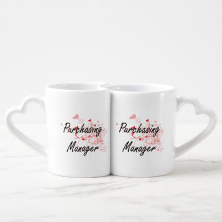 Purchasing Manager Artistic Job Design with Hearts Couples Mug