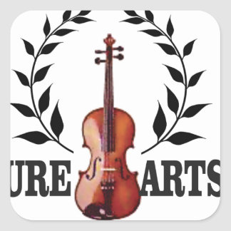 pure art fiddle square sticker