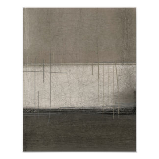 'Pure Awesomeness' Beige and Brown Abstract Art Poster