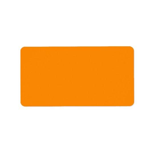 Pure Bright Orange Customised Template Blank Label