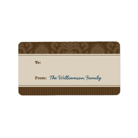 Pure Elegance Holiday Gift Tag (brown/taupe)