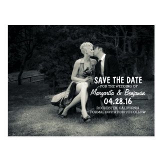 Pure Elegance Photo Black and White Save the Date Postcard