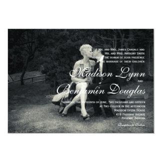 Pure Elegance Photo Black and White Wedding 13 Cm X 18 Cm Invitation Card