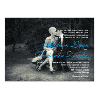 Pure Elegance Photo Black and White Wedding Card