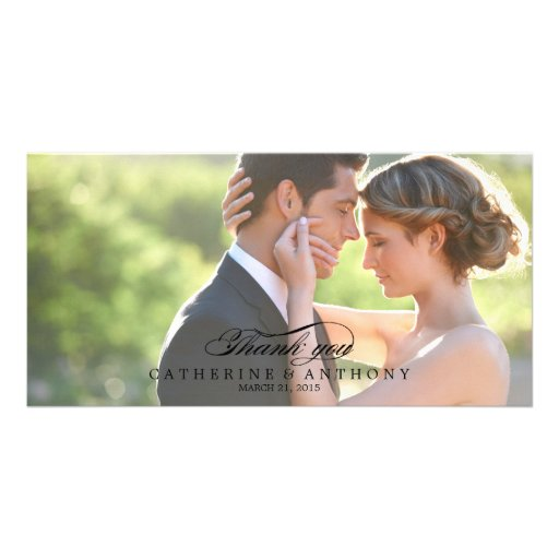 Pure Elegance Wedding Thank You - Black Personalized Photo Card
