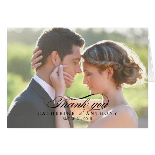 Pure Elegance Wedding Thank You Card - Black Greeting Card