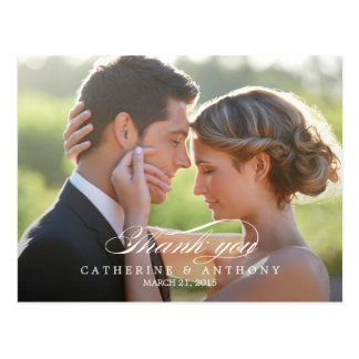 Pure Elegance Wedding Thank You Card - White Postcard