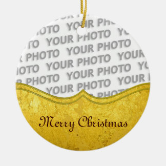 PURE GOLD LEAF Border + your text / photo Round Ceramic Decoration