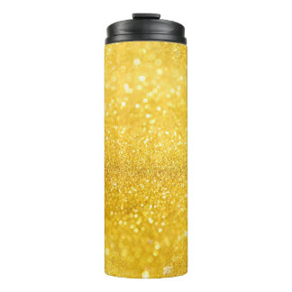 PURE GOLD Sparkles Pattern + your text / photo Thermal Tumbler