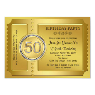 Pure Gold Ticket 50th Birthday Party Card
