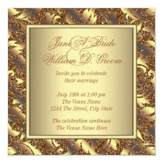 """Pure Gold Wedding 5.25"""" Square Invitation Card"""