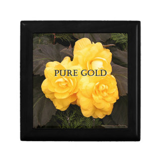 Pure gold: yellow begonia flower small square gift box