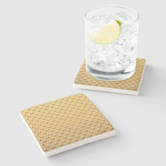 PURE GOLDEN PEARLS Pattern + your text / photo Stone Coaster