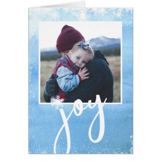Pure Joy Holiday Photo Watercolor Snowflake Card