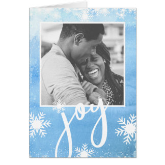 Pure Joy Winter Watercolor Snowflake Holiday Photo Card