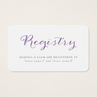 Pure Love Watercolor Registry Cards / Violet