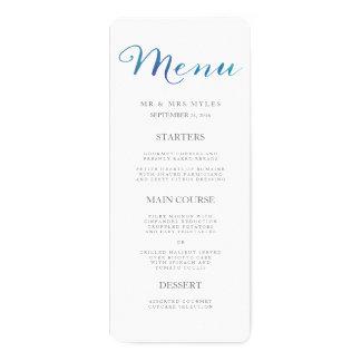 Pure Love Watercolor Wedding Menu / Ocean Blue 10 Cm X 24 Cm Invitation Card