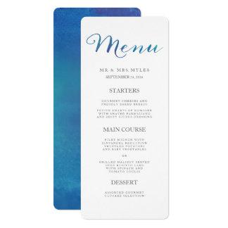 Pure Love Watercolor Wedding Menu / Ocean Blue Card
