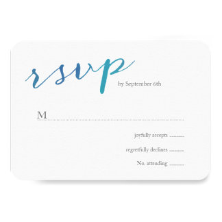Pure Love Watercolor Wedding RSVP / Ocean Blue Card