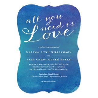 Pure Love Wedding Invitation / Ocean Blue