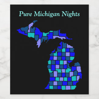 Pure Michigan Nights State Map county Wine Labels