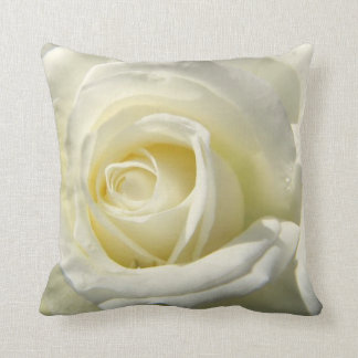 Pure Soul Rose Flower White Throw Pillow