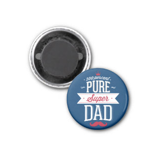 Pure Super Dad Moustache Red and White 3 Cm Round Magnet