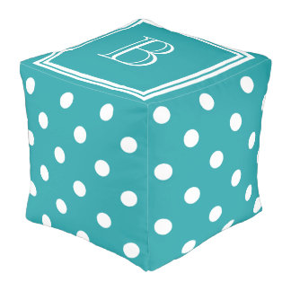 Pure Turquoise and White Polka Dot Monogram Cube Pouffe