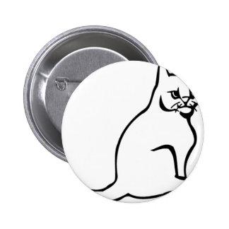 Pure White Cat Sitting Button