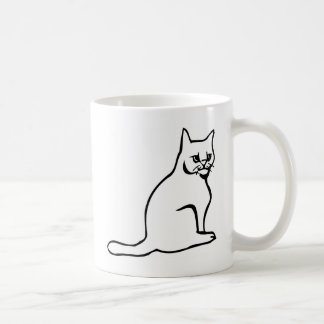 Pure White Cat Sitting Coffee Mug