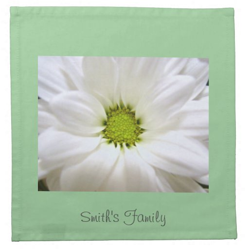 pure white daisy flower cloth napkins