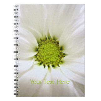 pure white daisy flower spiral notebooks