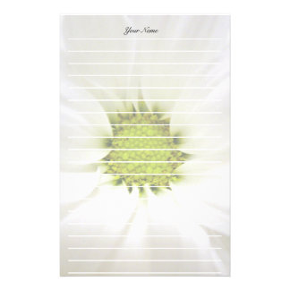 pure white daisy flower customized stationery