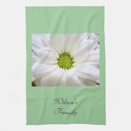 pure white daisy flower kitchen towel